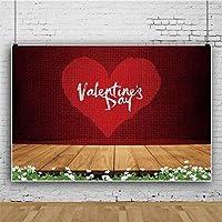 Zhyポリエステル生地バレンタインs日の背景7x5フィートの木製の写真の背景ハート型のパターンの装飾バレンタインsの日のパーティーの背景女の子の肖像画バレンタインsの日の写真ブースの小道具