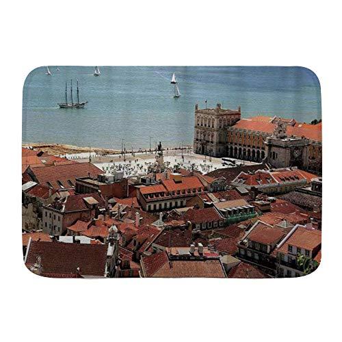 Minalo Alfombra Decorativa para el Baño,Vista del Centro de Lisboa Portugal con tejados y mar Ciudad Vieja Ciudad nostálgica,Alfombrilla Antideslizante,75 x 45 cm
