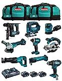 MAKITA Kit MK901 (DDF482 + DHR171 + DGA504 + DTD152 + DJV182 + DSS610 + DJR186 + DBO180 + DTM51 + 3 Batterie 5,0 Ah + Caricabatterie + 2 x LXT600)