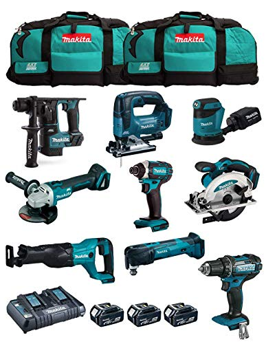 MAKITA Kit MK901 (DDF482 + DHR171 + DGA504 + DTD152 + DJV182 + DSS610 + DJR186 + DBO180 + DTM51 + 3 Baterías de 5,0 Ah + Cargador + 2 x LXT600)
