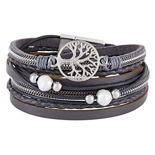StarAppeal Wickelarmband mit Perlen, Ketten, Flechtelement und Lebensbaum Anhänger, Magnetverschluss Silber, Damen Armband (Grau)