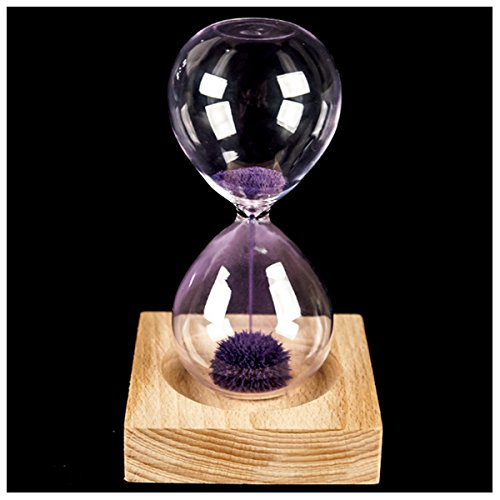 XZANTE Sablier Magnétique Fleurissant Bois Violet + Verre + Fer Poudre Sable Fer avec Sablier d'emballage Siège en Bois 13.5 x 5.5Cm 8 x 8 x 2Cm