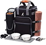 Ruff Dog Travel Bag for Supplies - Airline Approved Pet Travel Bag for Dog Accessories with 2 Collapsible Bowls, Food Container, Placemat, Poop Bags & Dispenser - Ideal Dogs Weekend Organizer (Black)