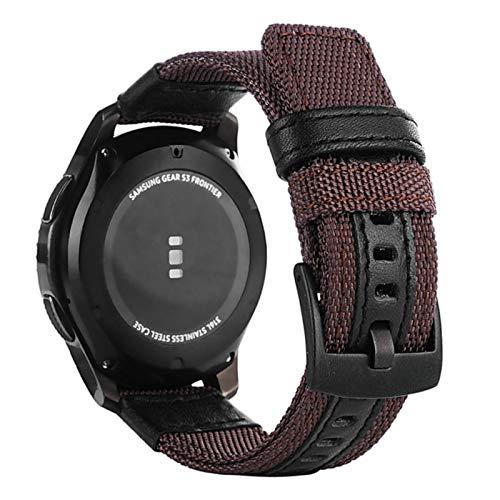 Correa de lona de nailon para Xiaomi Amazfit Bip / Stratos 2 2S 3 / PACE / GTS / GTR 47MM 42 Correa de reloj para Huawei Watch GT GT2 Correas-Marrón, 22mm