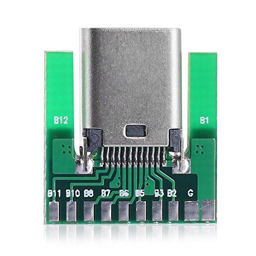 Chenyang DIY 24ピン USB 3.1タイプC メス ソケットコネクター SMTタイプ PCボード付き