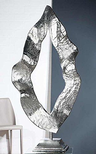 Gilde Flamme Sculpture en Aluminium Argenté 38 x 81 cm