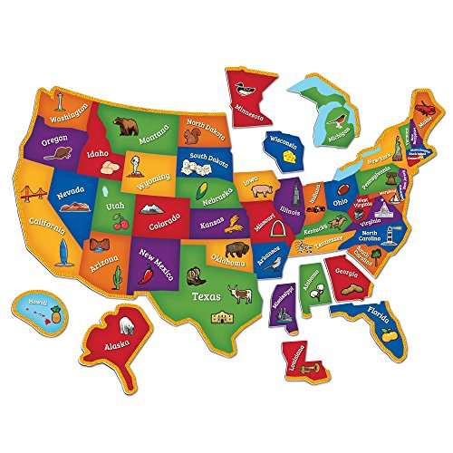 Learning Resources Magnetic U.S. Map Puzzle, Geography and Fine Motor Skills, 44...