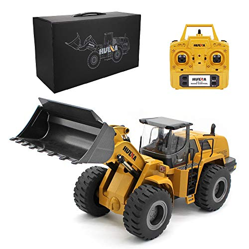 Ailejia 1/14 RC Wheel Loader 10 Channel Remote Control Front Loader Construction Tractor 2.4GHz Metal Bulldozer Toy
