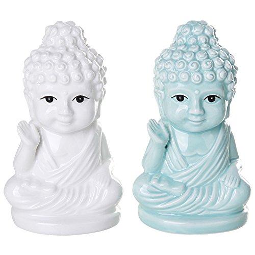 Buddha Sitting on Lotus Position Salt Pepper Shaker Set Kitchen Decor Ceramic