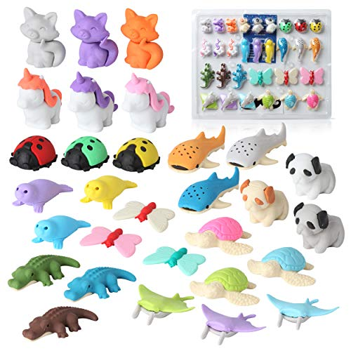 20 pcs Mini Animals Erasers Random Adorable Animals Erasers Best for Kids Fun and Games