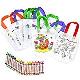 Bolsas para Colorear 12 Pcs (Diferentes Diseño) con 24 Pasteles de Aceite Ideal para regalos de cumpleaños comuniones colegios guarderías y celebraciones