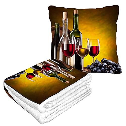 Manta de viaje para botella de vino, almohada 2 en 1 de vidrio y roble barriles de avión, manta de oficina de franela mullida