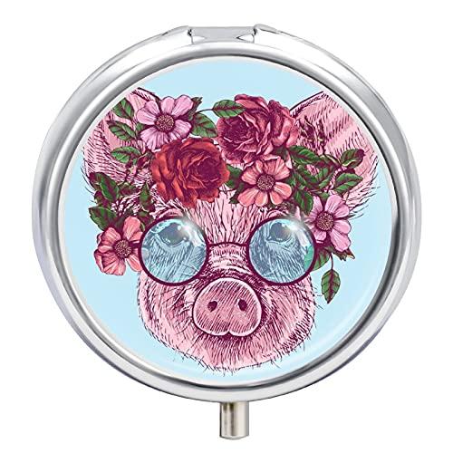Pastillero Cerdo Floral De Dibujos Animados Organizador De Pastillas Diario Dispensador Píldoras Para Viaje Escuela Oficina 5x5cm