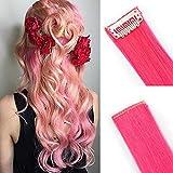 SEGO Extension a Clip Meche Cheveux Couleur Rainbow Arc-en Ciel Synthétique Postiche Pas Cher Rajout Clips Raide Lisse - Rose Vivant 55CM(100g)- [10 Pièces] Meches Froid Clip In Hair