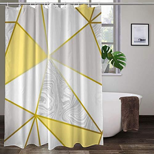 Zara Duschvorhang mit Haken, Marmor-Optik, metallisch, senffarben, goldfarben, Polyester, 152,4 cm x 182,9 cm (B x H)