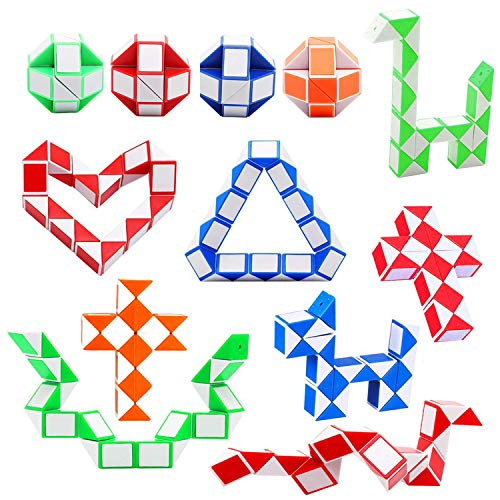 Soneer 12 Pack 24 Blocks Magic Snake Cube,Mini snake Speed Cube, Twist Puzzle Toys for Kids Intelligence Development ,Party Bag Fillers, Party Favours(Random Color)
