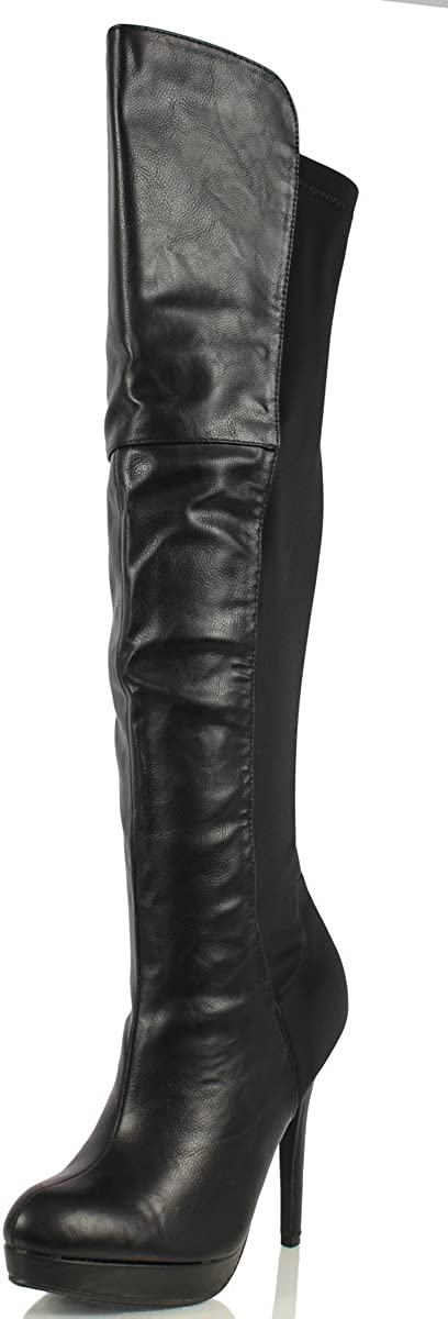 Delicious Women's Almond Toe High Top Chunky Heel Boot