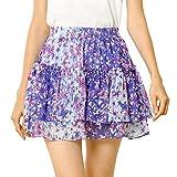 Allegra K Women's Mini Skirt Cute High Waisted Summer Floral Ruffle Short Skirts X-Large Purple