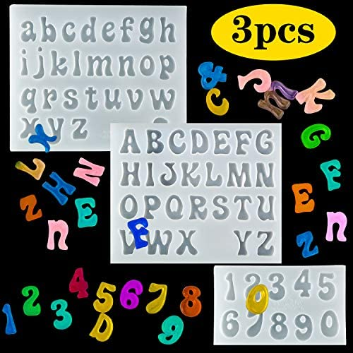 Palksky 3Pcs Mini Letters Resin Molds Small Silicone Number Alphabet Epoxy Casting Mould for product image