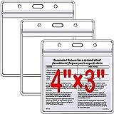 IXIGER ワクチンカードホルダー 4 x 3インチ クレデンシャルホルダー カードホルダー クリア ビニールプラスチックスリーブ 3 x 4インチ 防水タイプ 再密封可能ファスナー (カードスリーブのみ)