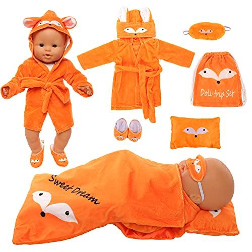 Schlafsack Schlafanzug für 35-40 cm Baby Puppen, Kleidung Outfit Morgenmantel für Baby Born Puppen (Fuchs)