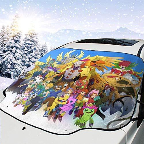 DDENG Cartoon Anime Digimon Adventure Multifunktionsauto Windschutzscheibe Schneedecke Auto wasserdichte Windschutzscheibe Winterabdeckung für EIS, Schnee, Frost, 147 x 118 cm-60