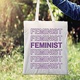 Bolsa de regalo con texto feminista feminista en bolsa de regalo, color beige, eslogan feminista, diseño de letra hueca, eslogan feminista en bolsa