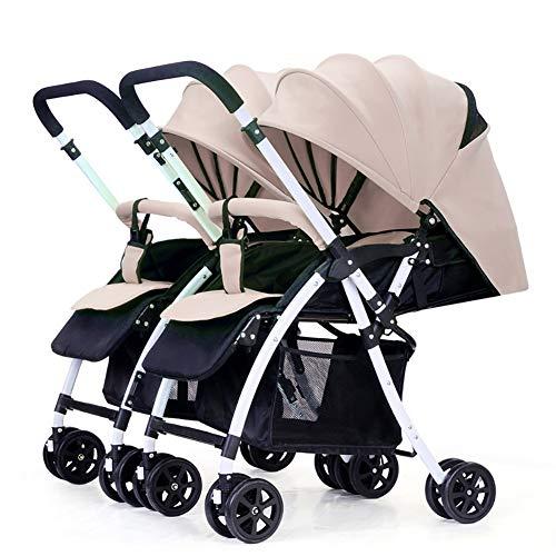 Poussettes JCOCO de bébé jumeau, Chariot Infantile Double inversable (Couleur : Kaki)