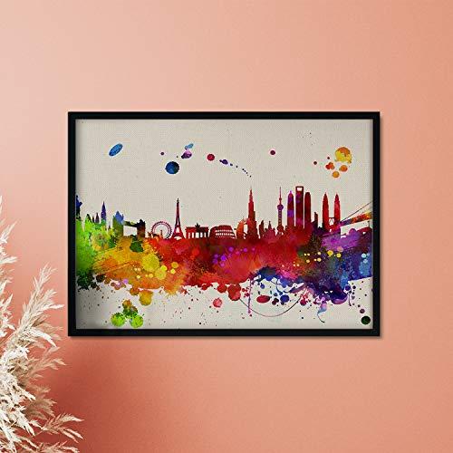 Nacnic Lámina MONUMENTOS del Mundo. Skyline Estilo Acuarela y explosión de Color. Poster tamaño A3 Impreso en Papel 250 Gramos y tintas Decoración del hogar. Diseño al Mejor Precio.
