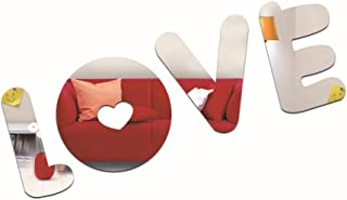 Mirror Wall sticker-3D Mirror Sticker, Environmentally Friendly Removable Mirror, Bedroom Living Room Wall Sticker Love Le...