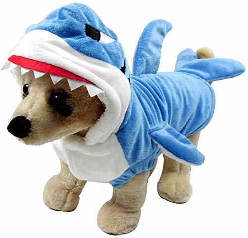 LYYJF Divertido disfraz de tiburón para perro, gato, disfraz de tiburón azul para mascotas, disfraz de mascota con capucha de forro polar para mascotas, ropa cálida, talla M