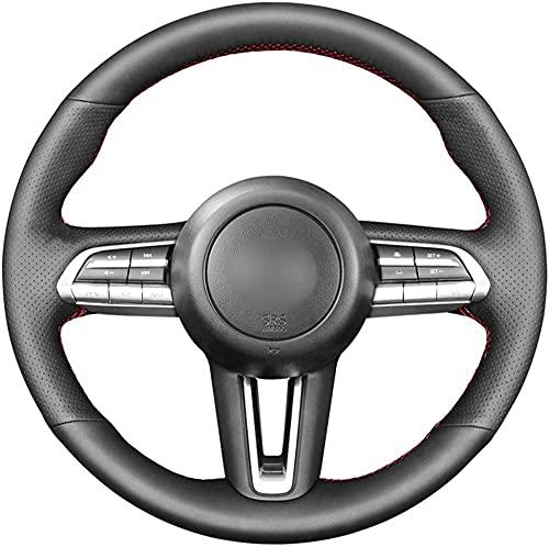LIUJTAO - Funda para volante de piel cosida a mano, para Mazda CX-30 CX30 Mazda 3 Axela 2019-2020-Rojo_Blue_Thread