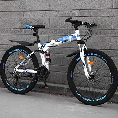 Klapprad, Mountainbike für Jugendliche Erwachsene, 26 Zoll, 21/24/27 Gänge, Mountainbike, vollgefedert, für Jugendliche, Erwachsene und Damen, Blau, 26 Zoll 21 Speed