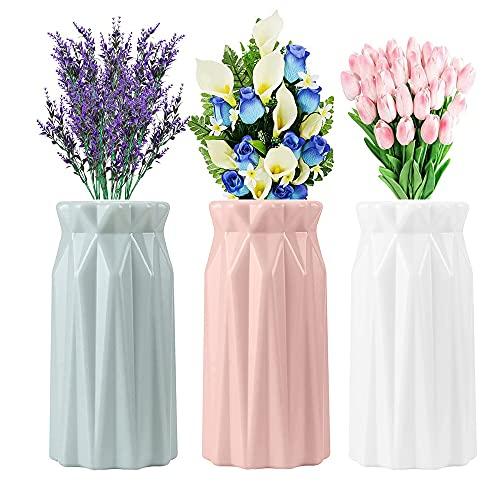 ZHOUHON- Kunststoff Vasen, 3 Stück Moderne Dekorative Blumenvase, Dekorative Desktop Ornament Kunststoff Vase für Küche Wohnzimmer Schlafzimmer Office (welligkeit)