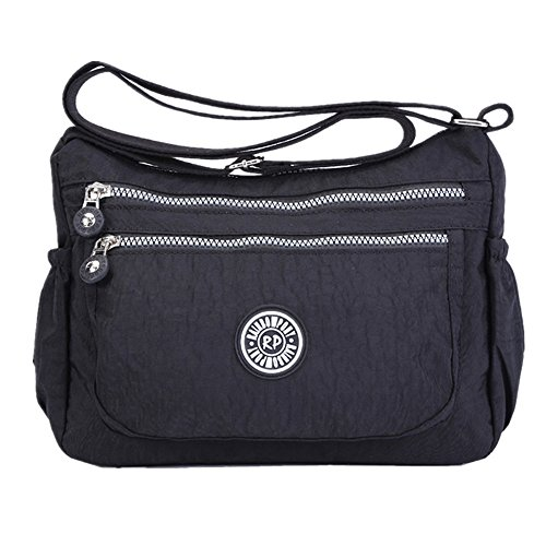 Womens Multi Pocket Casual Handbag Travel Bag Messenger Cross Body Bag (Black)