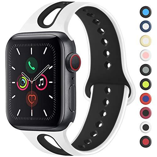 Mugust Compatibile Cinturino per Apple Watch 44mm 42mm 38mm 40mm, Cinturino Sport in Silicone Traspirante Cinturino Uomo e Donna per iWatch Serie 5 4 3 2 1 (38mm/40mm-S/M, 04 White/Black)