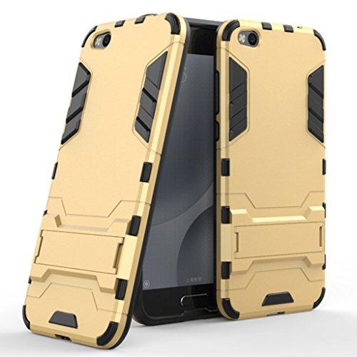 Hülle für Xiaomi Mi 5C (5,15 Zoll) 2 in 1 Hybrid Dual Layer Shell Armor Schutzhülle mit Standfunktion Case (Gold)