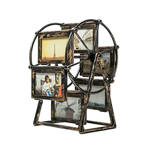 VORCOOL Vintage Familie Fotorahmen Drehbare Riesenrad Bilderrahmen Desktop Bilderrahmen Stehende Gedenkrahmen Home Art Dekor (4)