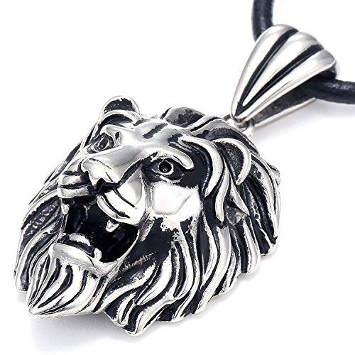 DonDon Herren Halskette Leder und Löwen Anhänger Edelstahl im Schmuckbeutel