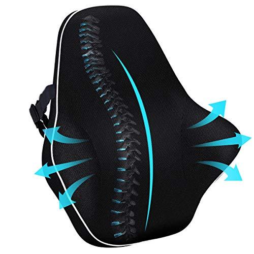 Cojín de espuma viscoelástica lumbar, para apoyo de espalda y cintura, adecuado para silla de coche/oficina/oficina en casa, puede aliviar la fatiga y el dolor de espalda y cintura, cómodo, negro