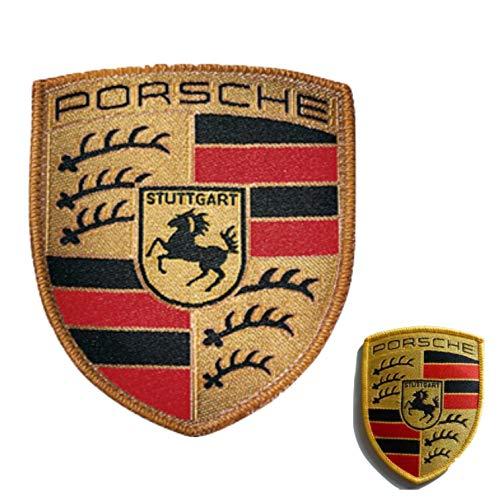 Porsche Aufnäher Aufbügler Stoffwappen 53 x 65 mm Stoff Wappen  Hier Plus Extra Schlüsselring Mit Schraubverschluss   Set