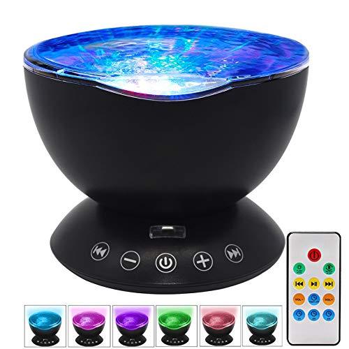 HJG Ocean Wave Light Projector LED Nachtlampje Lamp met Muziekspeler, Sterrenprojectie Star Sky 7 Kleuren Multi kleuren Ontspannende Ambiance voor Kinderen Slaapkamer, Zwart