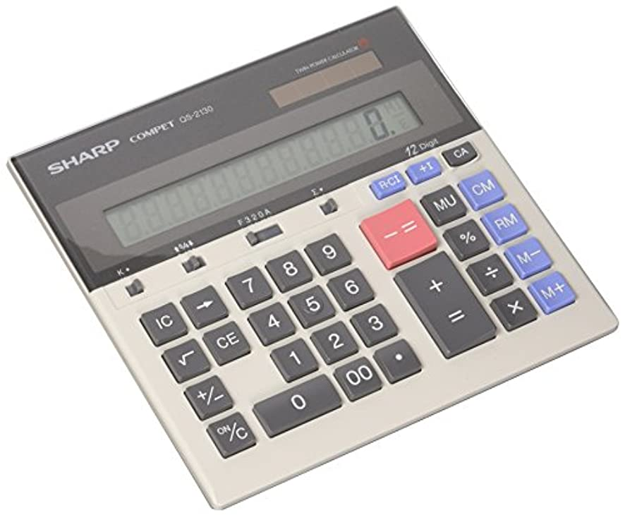 Sharp QS-2130 12-Digit Commercial Desktop Calculator with Kickstand, Arithmetic Logic, Battery and Solar Hybrid Powered LCD Display, Great for Home and Office Use