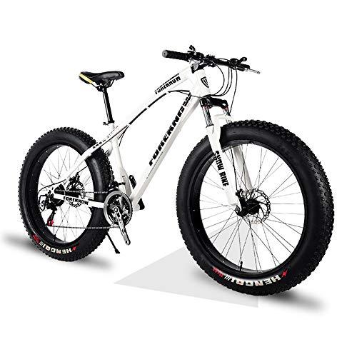 YCHBOS Fat Tire Adulto Mountain Bike MTB 26 Pulgadas, 21/27 Velocidad Sports Ciclismo Bicicleta Off Road Beach Bicicleta Montaña Hombre, Horquilla de Suspensión, Freno Doble DiscoA-21 Speed