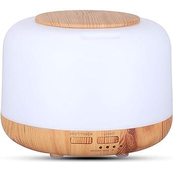 Difusor de aceites esenciales de 300ml,Difusor Aromaterapia hasta 10 Horas,Difusor de Aceite Esencial para Casa y Oficina con Luces LED de 7 Colores y Función de Apagado Automático