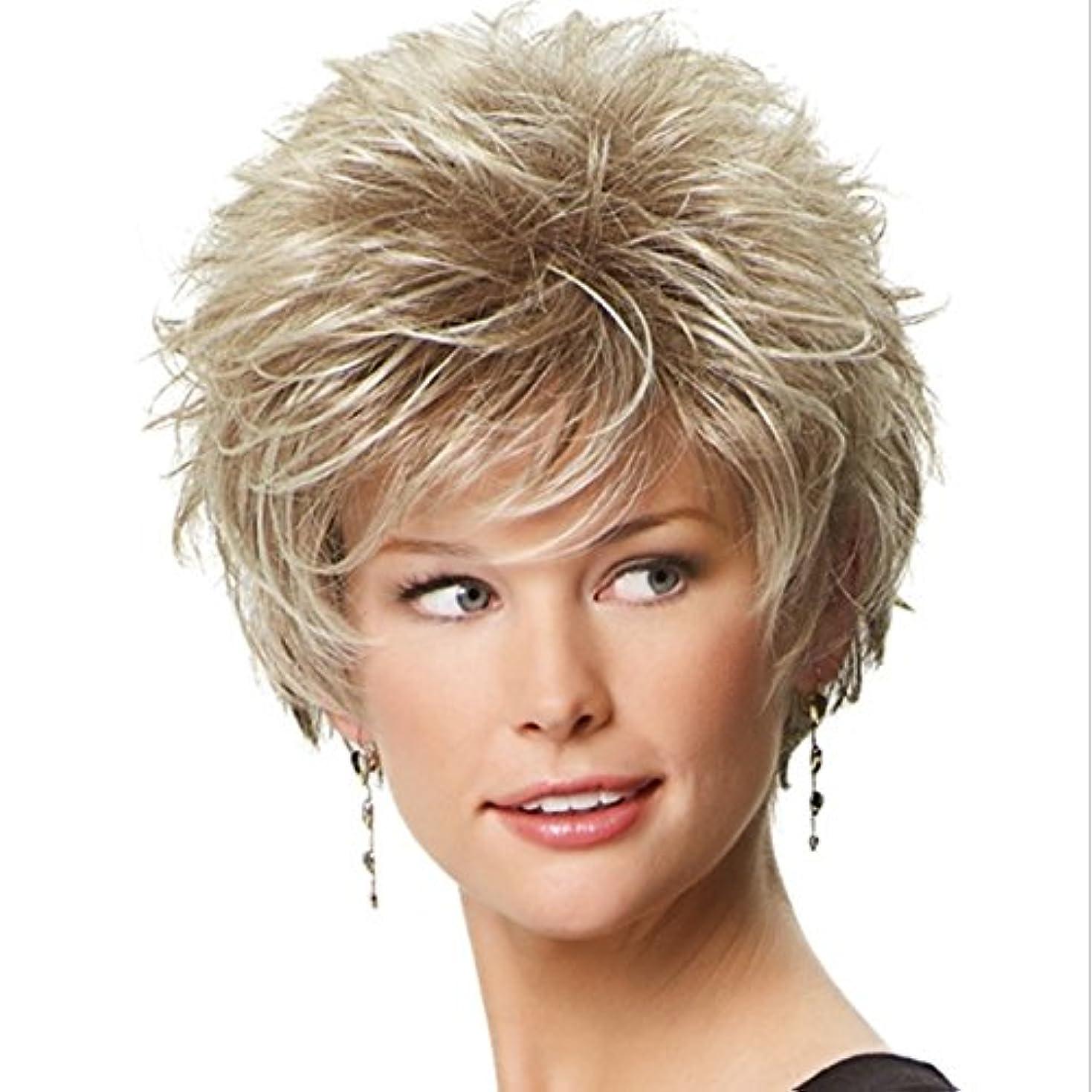 航空証明する普遍的なJIANFU 女性のための優雅なかつらエアーフラットバンズウィッグとショートカーリーヘアー女性のための耐熱性のあるふわふわウィッグ10inch / 11inch(灰色がかった白、金色) (Color : Golden)