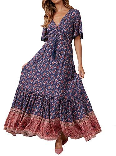 R.Vivimos Women's Summer Boho V Neck Button Up Short Sleeve Bohemian Print Ruffle Hem Beach...