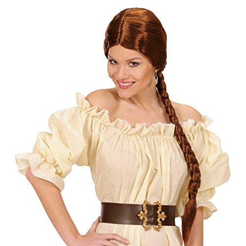 NET TOYS Perruque Chignon Longue Brune pour Femmes Perruque à Chignon Classique Brune Perruque médiévale Perruque pour Femme Moyen-Âge