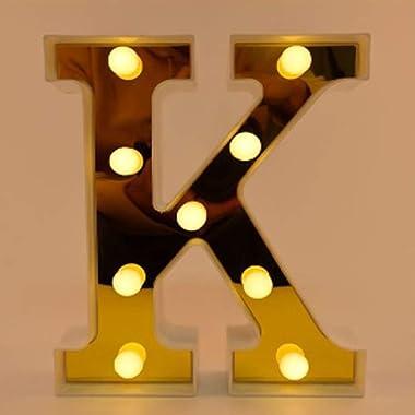 Unishop Lettres avec lumières LED pour décoration d'anniversaire, de A à Z et éclairage pour événements et fêtes, belle d