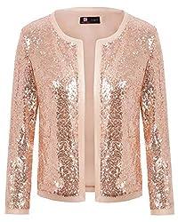 Rose Gold(mesh) Sequin Jacket 3/4 Sleeve Open Front Bolero Shrug